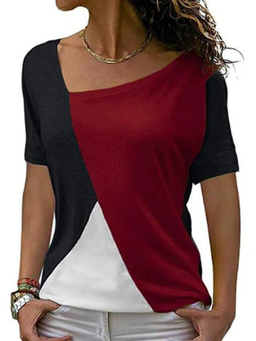 Asymmetric Neck Patchwork Color Block Short Sleeve T-Shirts Red / S Shirts & Blouses