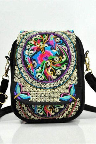 Women Vintage Embroidery Zero Wallet Mobile Phone Packages Handbag Shoulder Bag Bag