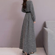 Fashion Long Sleeves Style Shown Thin Frenulum Knitted Maxi Dress