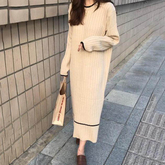 Fashion Simple Loose Long Sleeves Knitted Maxi Dress Apricot / One Size