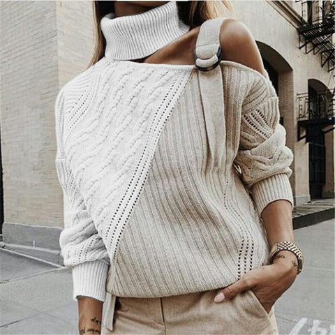 Womens Off-The-Shoulder Long Sleeve Colorblock Sweater Apricot White / Xl