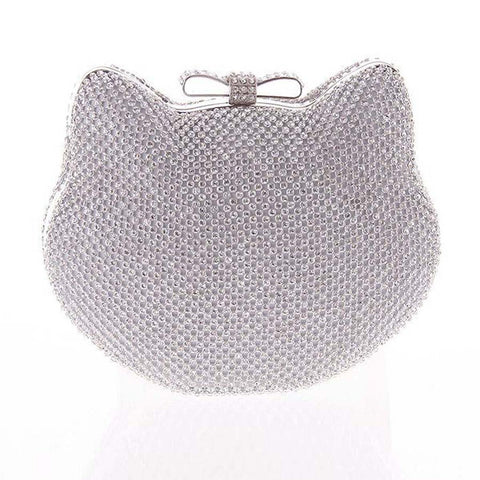 Kitty Shape Diamante Clutch Bag Silver / One Size Bags