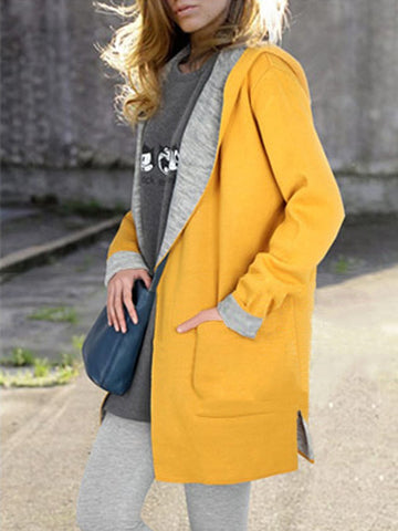 Hooded Patch Pocket Woolen Color Block Long Sleeve Coat Coats&jackets&sweaters&cardigans