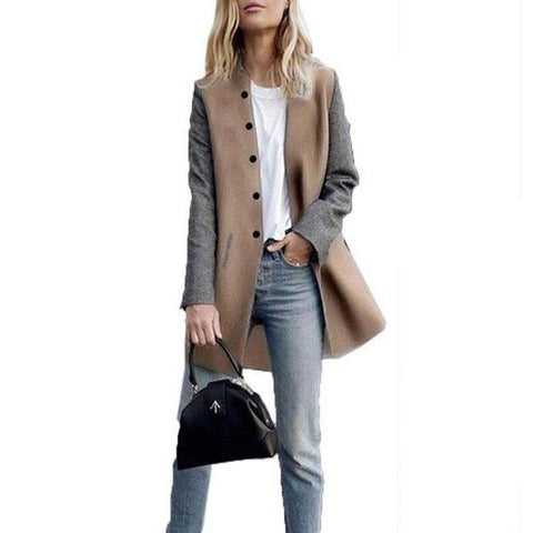 Round Neck Single Breasted Color Block Coats Khaki / S Coat