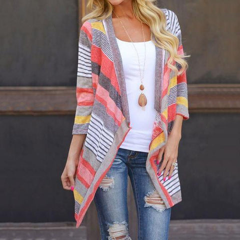 Asymmetric Hem Striped Cardigans Red / S