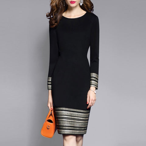 Round Neck Plain Blend Bodycon Dress Black / 4Xl Dress-Women