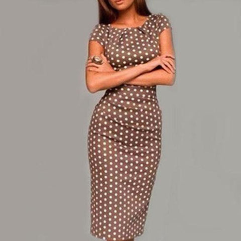 Polka Dot Bodycon Dress Coffee / S