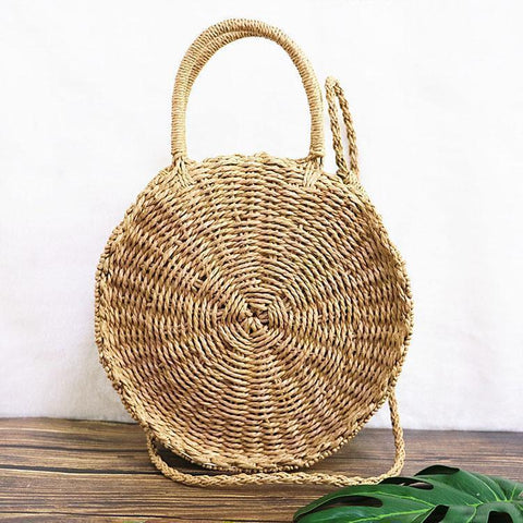 Fashion Circular Straw Bag Camel / One Size Handbag