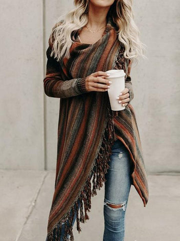 Fringed Crazy Blanket Cardigan Orange / S Coats&jackets