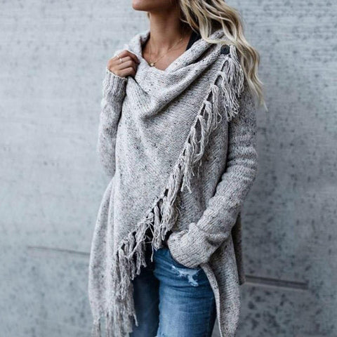 Fringed Heap Neck Cropped Cardigan Gray / S Cardigans