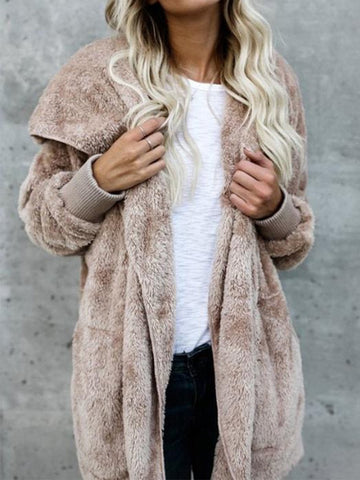 Hooded Fluffy Jacket In Fleece Fur Khaki / S Sweaters&cardigans