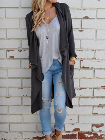 Plain Long Sleeve Cardigans Gray / S Sweaters&cardigans