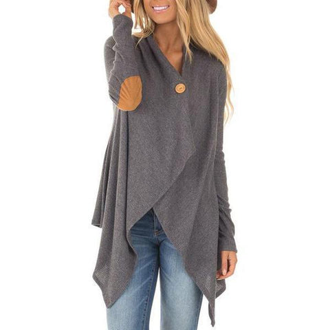 Plain Long Sleeve Cardigans Dark Grey / S