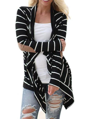Cropped Stripe Long Sleeve Top Black / S Sweaters&cardigans