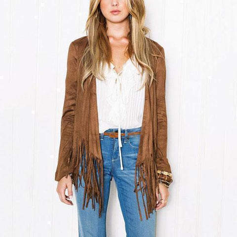 Collarless Fringe Plain Long Sleeve Cardigan Detail / S Cardigans