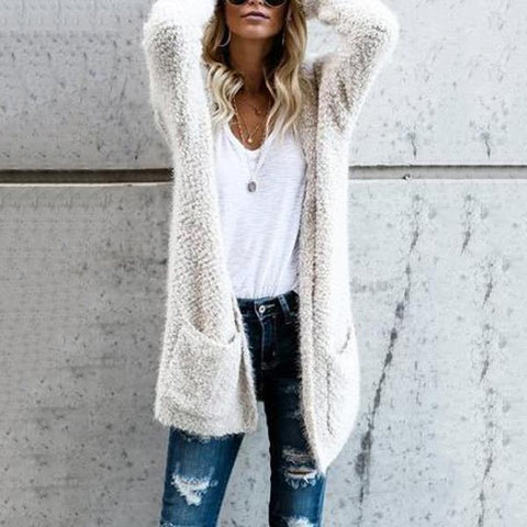 Fluffy Long Sleeve Cardigans White / S