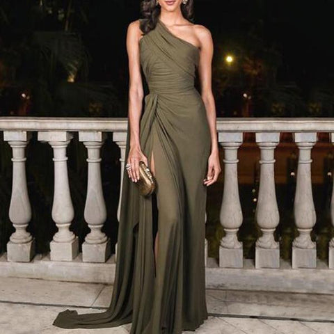 Sexy Plain Slim Off Shoulder Fork Evening Dress Army Green / S