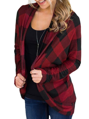 Plaid Open Front Long Sleeves Cardigan Red / S Coats&jackets