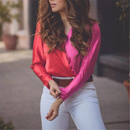 Sexy Color Block V Collar Long Sleeve Blouse Shirts & Blouses