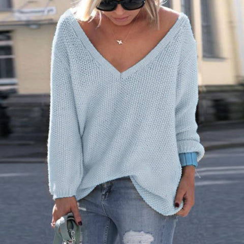Fashion V-Neck Solid Color Sweater Sweaters