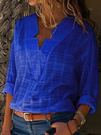 [Free] Sexy V Neck Pure Color Blouses Blue / S Shirts &