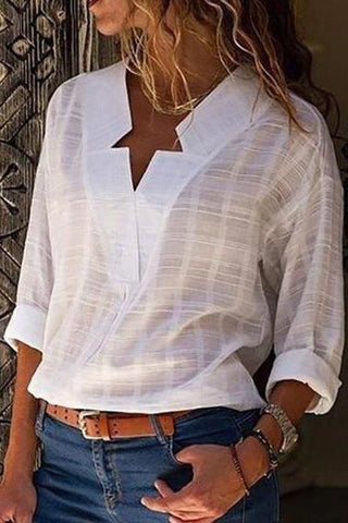 Sexy V Neck Pure Color Blouses Shirts &