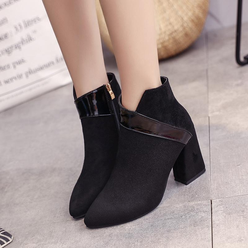 Pointed Scrub Thick Heel Ankle Boots High Zip Martin Black / 35