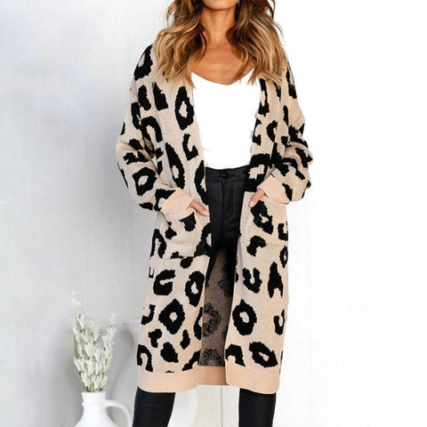 Leopard Pattern Long-Sleeved Knitted Long Sweater Jacket Khaki / S Cardigans