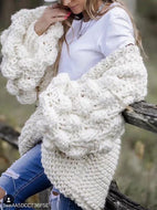 Hand-Knitted Lantern Sleeve Sweater Sweaters