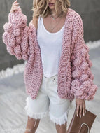 Hand-Knitted Lantern Sleeve Sweater Pink / One Size Sweaters