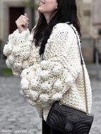 Hand-Knitted Lantern Sleeve Sweater Beige / One Size Sweaters