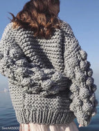 Hand-Knitted Lantern Sleeve Sweater Light Gray / One Size Sweaters