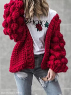 Hand-Knitted Lantern Sleeve Sweater Crimson / One Size Sweaters