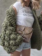 Hand-Knitted Lantern Sleeve Sweater Army Green / One Size Sweaters