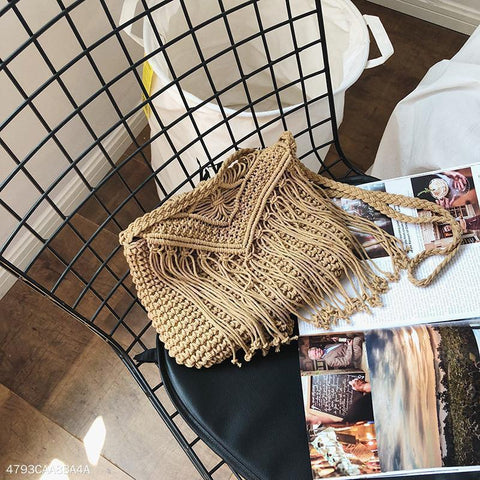 Vacation Fashion Casual Plain Knitting Rectangle Fringe One Shoulder Bag Khaki / One Size
