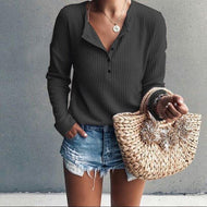 A Long-Sleeved Sweater Black / S Shirts & Blouses