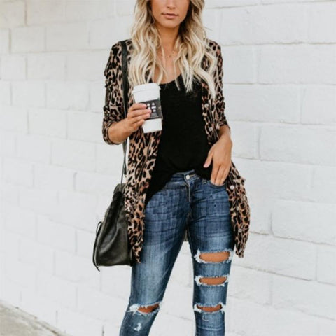 Long And Medium Leopard Loose Cardigan Same As Photo / Xs Cardigans