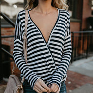 V Neck Long Sleeve Stripes Printed T-Shirts Black / S Shirts & Blouses