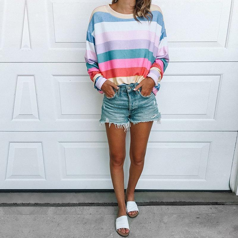 Round Neck Long Sleeve Multi-Color Stripes Printed T-Shirts Multi / S Shirts & Blouses