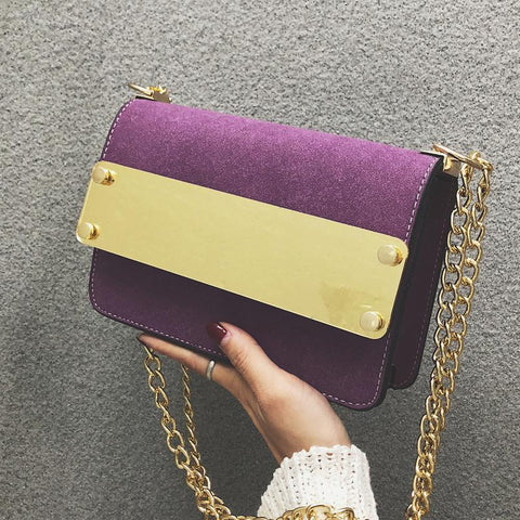 Chic Casual Dull Polish Rectangle Color Block Chain One Shoulder Bag Purple / One Size