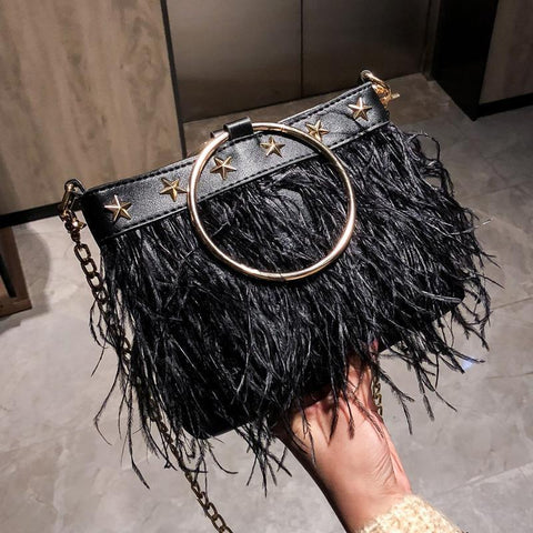 Casual Fashion Elegant Fringe Rectangle One Shoulder Hand Bag Black / One Size Bags