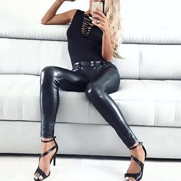 Sexy Fashion Black Butt Leather Pants / S
