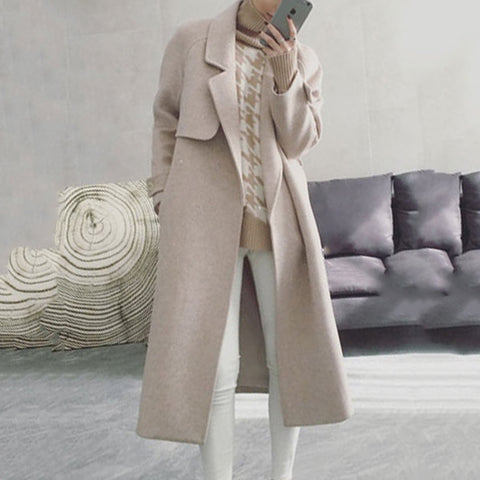 2019 CEA Women's Notch Lapel  Belt  Plain Coat