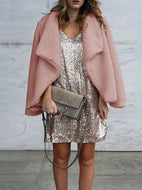 Solid Color Plush Warm Jacket Pink / S Coat