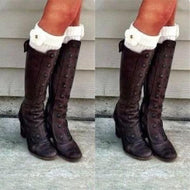 Retro High Heels And Knee Boots Brown / Us4