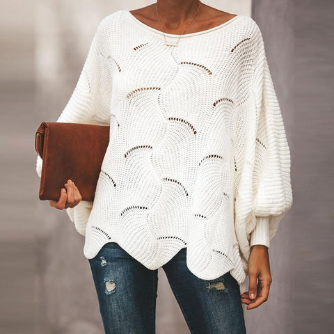 Fashion Wave Hem Long Batwing Sleeve Hollow Out Elegant Sweaters White / S