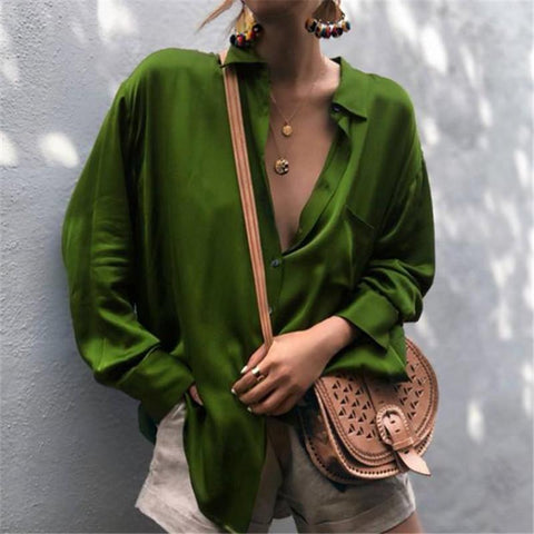 Autumn And Winter Fashionable Long-Sleeved Shirts Green / S & Blouses