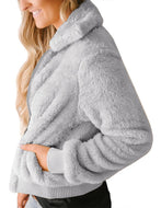 Pure Color Zipper Warming Sweater Plush Cardigans Coat