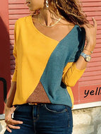 [Free] Asymmetric Neck Patchwork Contrast Stitching T-Shirts Yellow / S Shirts & Blouses