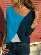 [Free] Asymmetric Neck Patchwork Contrast Stitching T-Shirts Blue / S Shirts & Blouses